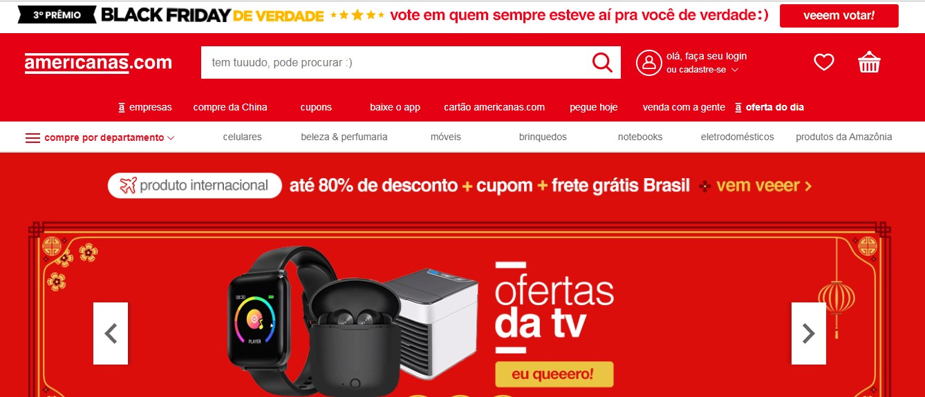 No site Americanas.com é possível comprar TV e celular mais barato durante a Black Friday
