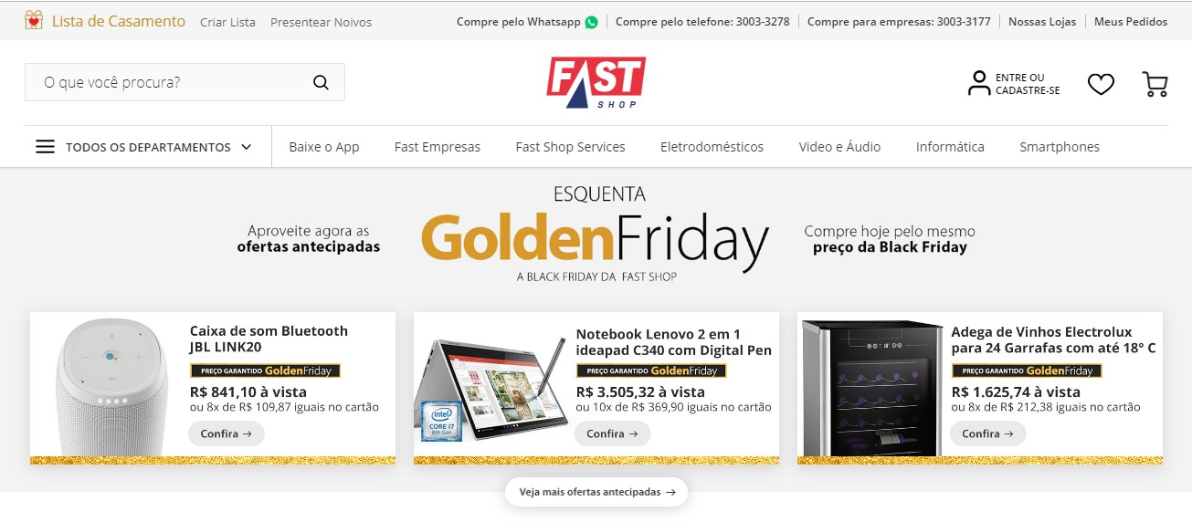 Aproveite a Golden Friday Fast Shop para comprar TV mais barato